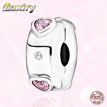 2020 New Fashion Sterling Silver Charm Beads Fit Pandora Charms Silver 925 Original Bracelets Pink Heart Clip Jewelry DIY Making