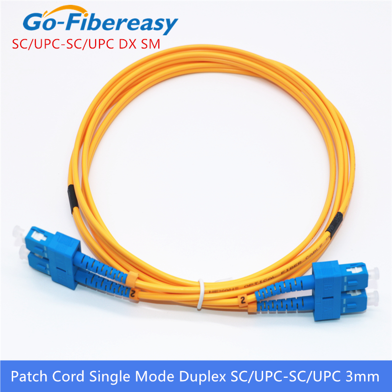 10pcs Fiber Optic Patch Cable SC/UPC-SC/UPC Single Mode Duplex Fiber Optic Patch Cord 3m 3.0mm SC-SC Fiber Optical Jumper Cable