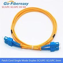 Cable de parche de fibra óptica 10 Uds SC/UPC SC/UPC Cable de parche de fibra óptica dúplex de modo único 3m 3,0mm SC SC Cable de puente de fibra óptica