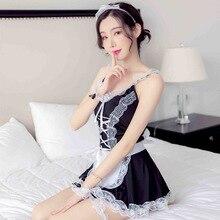 Erotic Lingerie Uniform-Set Apron Maid Sexy Costume Babydoll-Dress Role-Play Lolita French