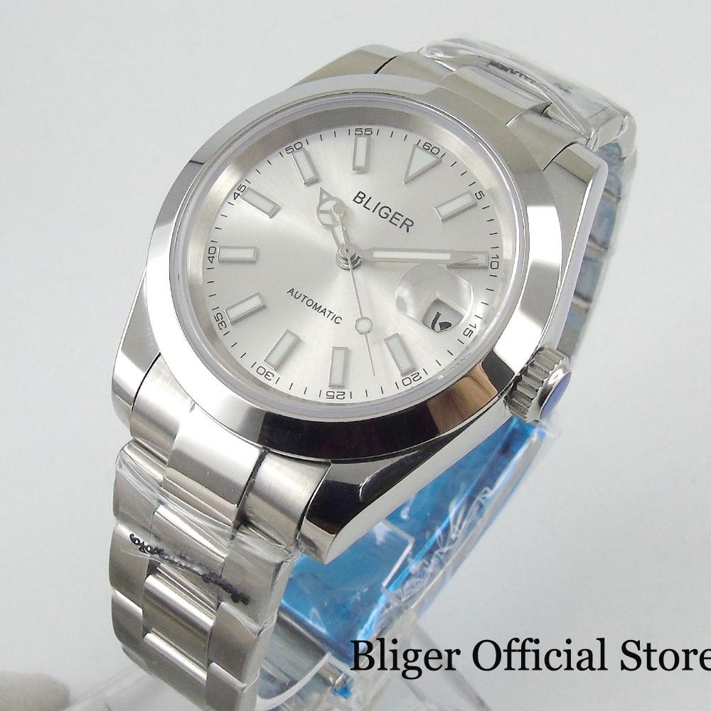 BLIGER New Polished Men Watch Sapphire Glass White Dial Date Window MIYOTA Movement Menatl Strap Deployment Clasp
