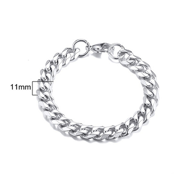 PUNK SILVER COLOR CURB CHAIN BRACELET FASHION MEN'S STAINLESS STEEL BANGLE BRACELETS 3MM 5MM 7MM 9MM 11MM 5
