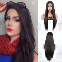 RONGDUOYI Long Synthetic Lace Front Wig Middle Part Straight