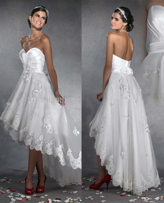 2016 Wedding Dress Sweetheart Custom Made Sleeveless Bridal Gowns White Lace Appliques Backless Vintage Hi Lo Wedding Dresses