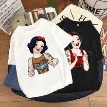 Disney Modus Schnee Weiß Prinzessin Harajuku Cartoon Druck Frauen T-Shirt Casual Oansatz Pullover Kurzarm Verlieren T Tops