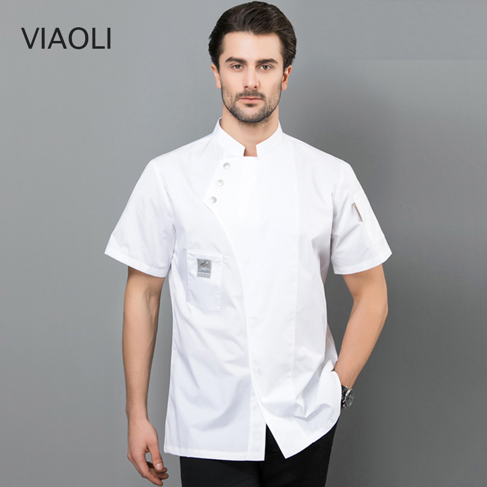 New Summer Short-sleeved Breathable Blue Chef Jacket Restaurant Hotel Cook Suit Man Woman Work Wear Food Service Uniform Coat