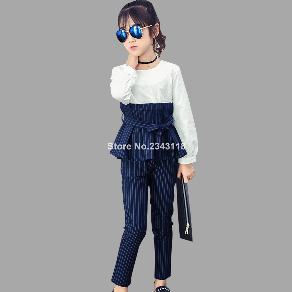Children Autumn Patchwork Dress + Trousers Girls Clothing Sets Striped Teenager Girls Blouse Pants Suit 8 10 12 14 Years