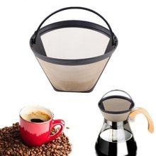 Filtre à café Permanent réutilisable en forme de cône, maille dorée en acier inoxydable, facile à nettoyer, lavable, 1 pièce