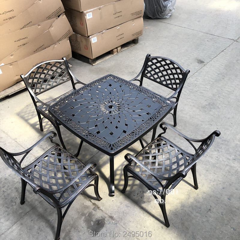 5 piece solid cast aluminum patio furniture dining set square dining table arm chair set for garden poolside backyard