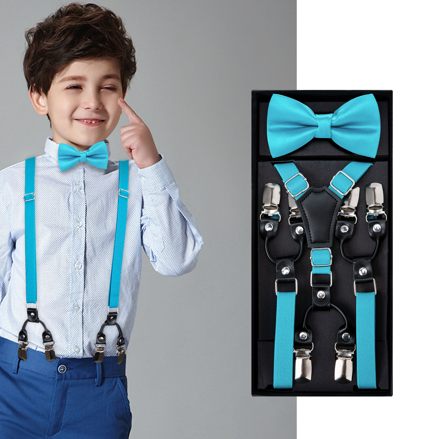 Kids Blue Bow Tie Elastic Suspender Boys Girls Wedding Party Adjustable Suspender Set Children Leather Y-Back Brace Belt DiBanGu