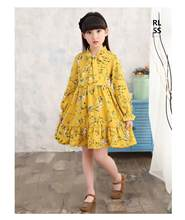 Kid Clothing Girls Fall Spring New Baby Clothing Korean Long Sleeve Chiffon Princess Tutu Dresses 3-10T Children's Floral Dress(China)