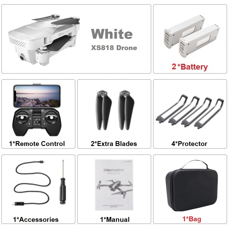 VISUO XS818 GPS Drone 4K Dual Camera HD Angle FPV Drones with 5G WiFi Optical Flow Foldable RC Quadcopter Professional VS E520S