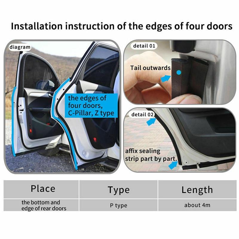 6M Z Type Car Door Edge Rubber Seal Strip Hollow Weatherstrip Trim Protector