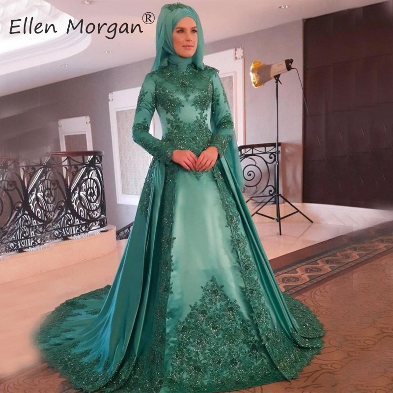 Muslim Arabic Hunter   Evening     Dresses   Long Sleeve Vintage 2019 with Scarf High Neck Applique Satin Vestidos De Gala Ball Gowns