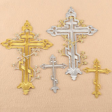 Embroidery Patches Gold Silver Cross Iron On Embroidered Gothic Badges For Bag Jeans Hat T Shirt DIY Appliques Craft Decor embroidered patches medic skull tactical military patches paramedic decorative reflective medical cross embroidery badges