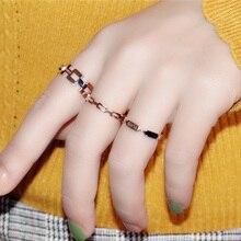 YUN RUO Black Hollow Out Ring Rose Gold Fashion 316 L Titani