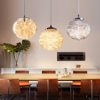 LukLoy Glass Ceiling Pendant Modern Crystal Effect Pendant Light Concise Pendant Light Hang Light for Dining Table Living Room фото