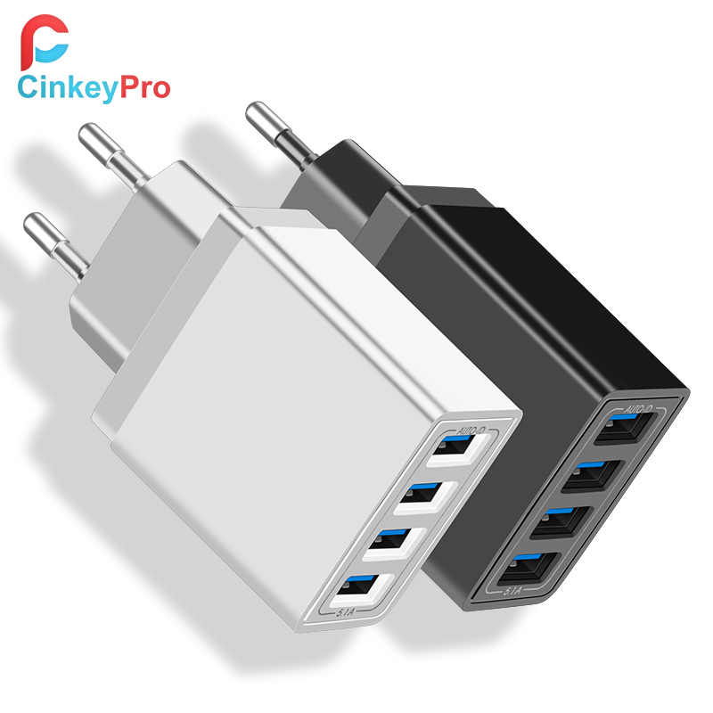 Cinkeypro 4-Port USB Charger 5 V/3.1A Pengisian Cepat untuk Xiaomi Iphone Samsung Ponsel Universal Dinding adaptor Charge