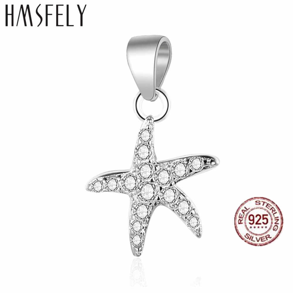HMSFELY Real 925 Sterling Silver Starfish Pendant DIY Charm Bracelet Dangles Findings For Women Necklace Jewelry Making Charms Accessories