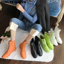 Ankle Boots Women Low Heel Brand Front Zipper Boots PU Leather Short Boots Shoes Women Candy Color Autumn Flat Casual Shoe Mujer