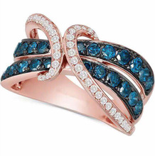 Exquisite Rose Gold Blue Crystal Anniversary Ring Bridal Wedding Band Engagement Ring Zircon Jewelry Women Valentine's Day Gift exquisite sky blue zircon crystal engagement ring oval gems rose gold wedding band ring anniversary fine jewelry gift for women
