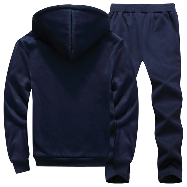 Men Sport Suit Tracksuit Winter Thick Fleece Hoodie Jacket Sweatshirt pant Jogging Running Casual Workout Set Warm Sports Wear in Running Sets from Sports Entertainment