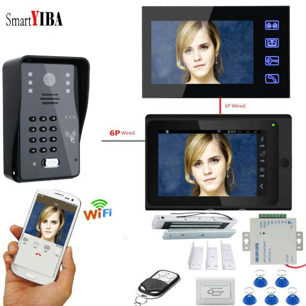 "SmartYIBA 7 ""Wifi פעמון מצלמה אלקטרוני מגנטי דלת מנעול אינטרקום ערכות דלת Videophone טלפון 12V כוח אספקת יציאה כפתור"