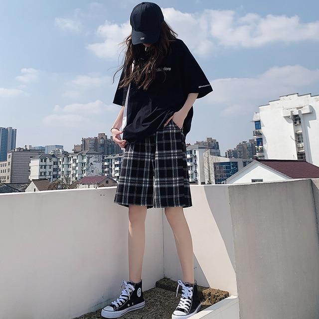Shorts Women Summer Black Plaid Cotton Loose Korean-style Summer high waist Harajuku Simple Oversize Trousers Female Shorts 2