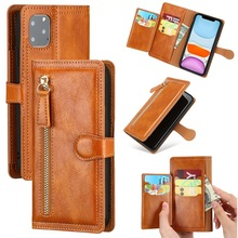 Luxury Leather Zipper Flip Wallet Case For iPhone 11 Pro MAX  X XS XR 6 6s 7 8 Plus SE 2020 Card Holder Stand Phone Cover Coque