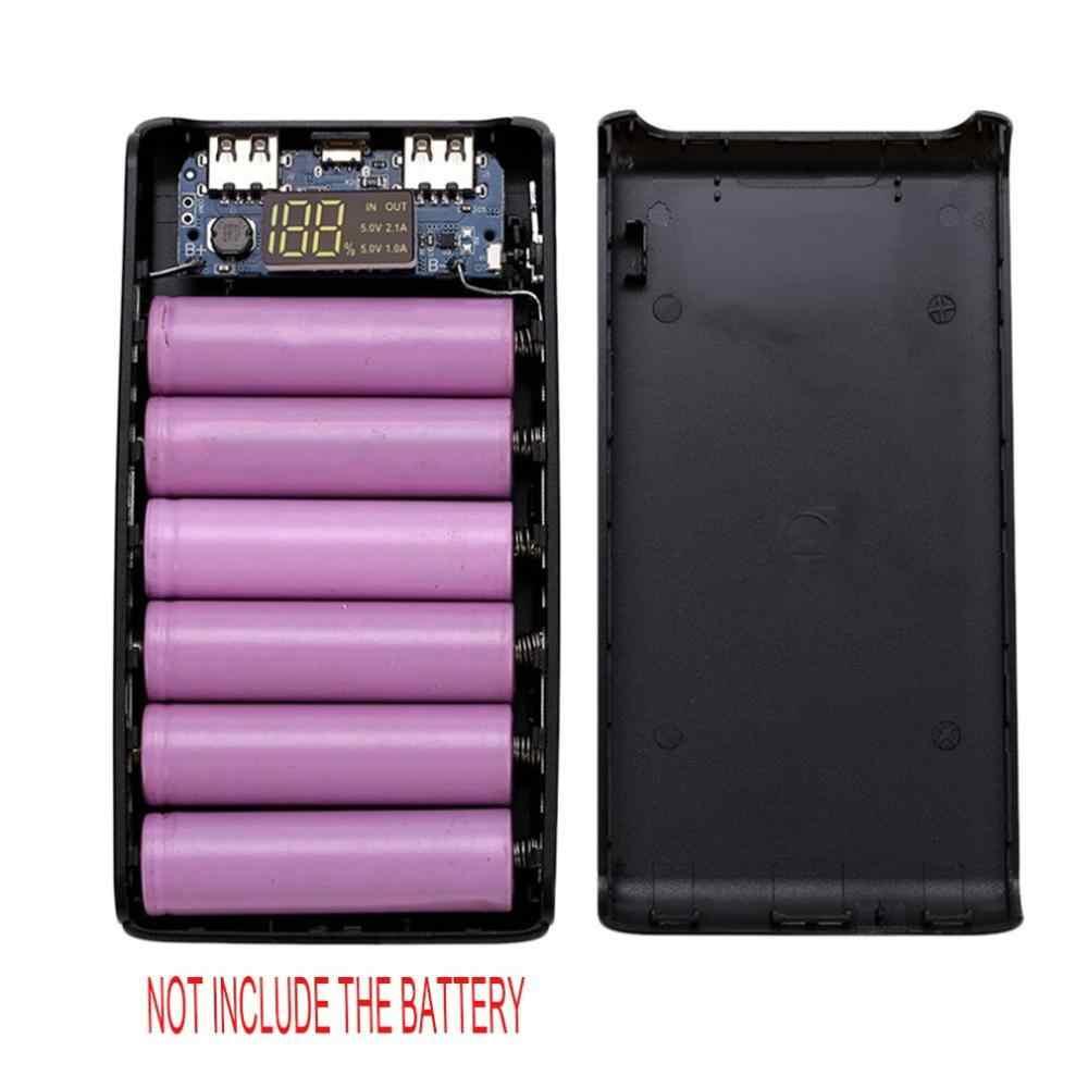 المحمولة علبة صندوق شحن البطارية حالة شاشة led ديجيتال عرض DIY 6x18650 قوة البنك مربع قذيفة مع USB ميناء الشحن