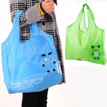 New Hot Sale Fashion Cartoon Foldable Green Shopping Bag Frog Pattern Pouch Handbags Convenient Large-capacity Storage Bags