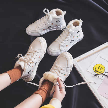 2019 autumn and winter Korean version of the wild high top plus velvet thick white shoes women