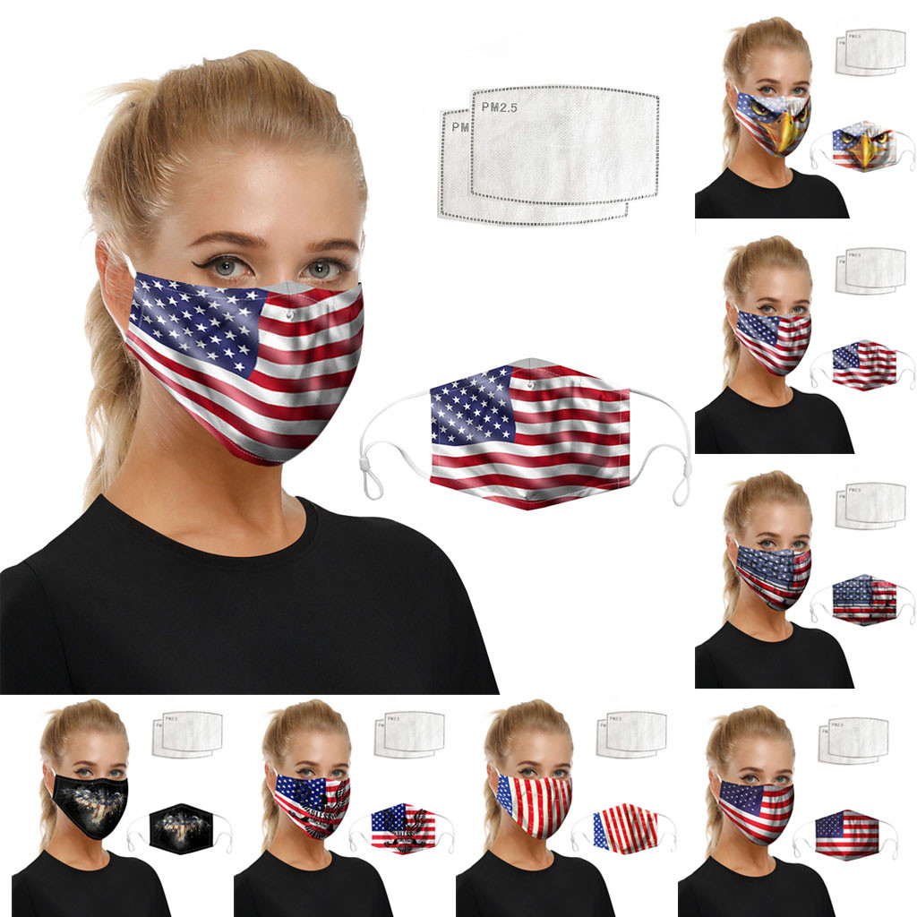 Face Mask American Flag Print Mouth Mask Cover Reusable Dustproof Washable Mascarillas Cosplay Face Shield Masque Facial Mask