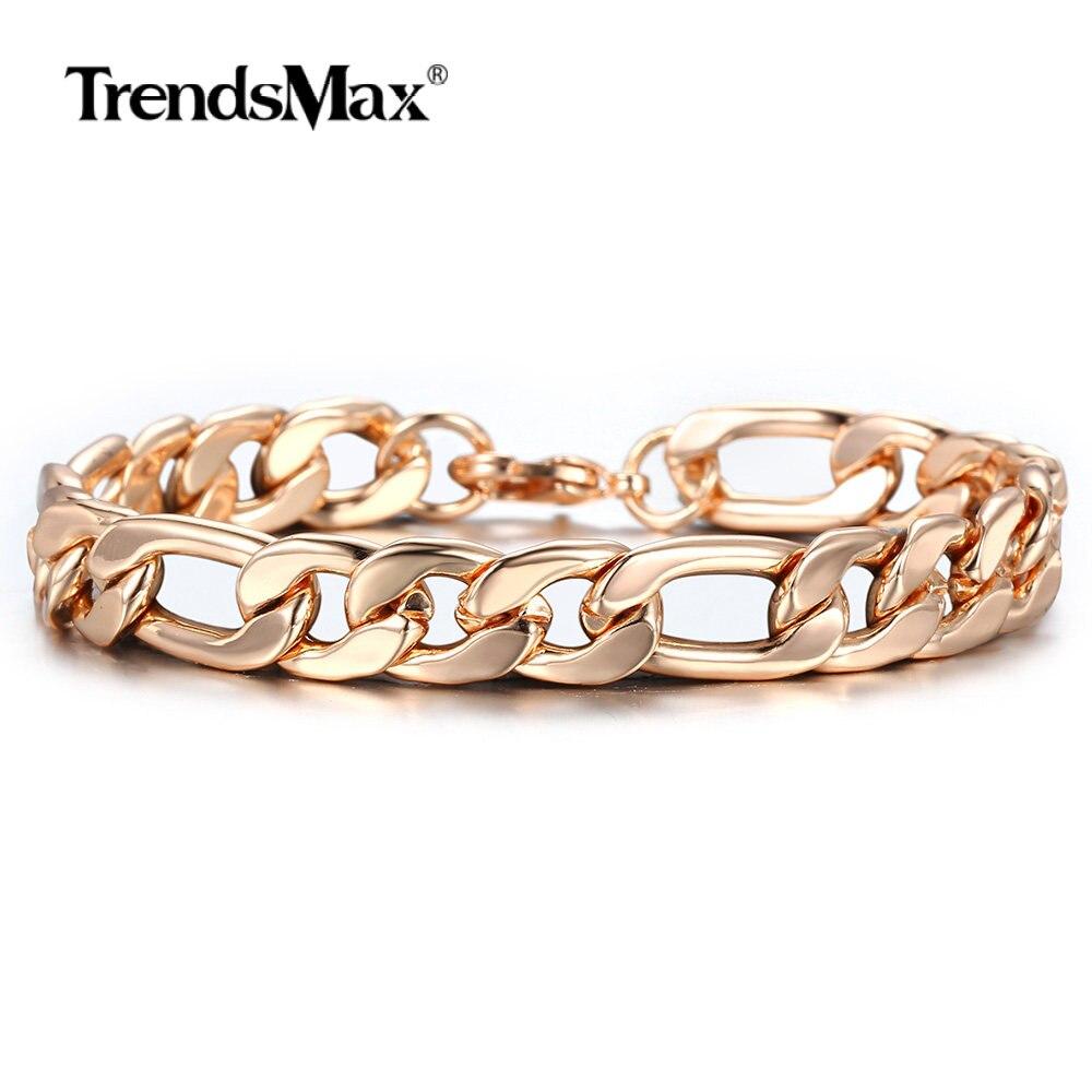 10mm 585 gül altın Figaro Curb küba Link zinciri bilezik kadınlar için erkekler pürüzsüz bilek takı hediyeler ıstakoz kanca 20cm CBM05