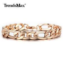 Bracelet Figaro en or Rose 585 pour femmes et hommes, chaîne à maillons cubains, bijoux de poignet lisse, cadeaux, fermoir à homard, 20cm, CBM05