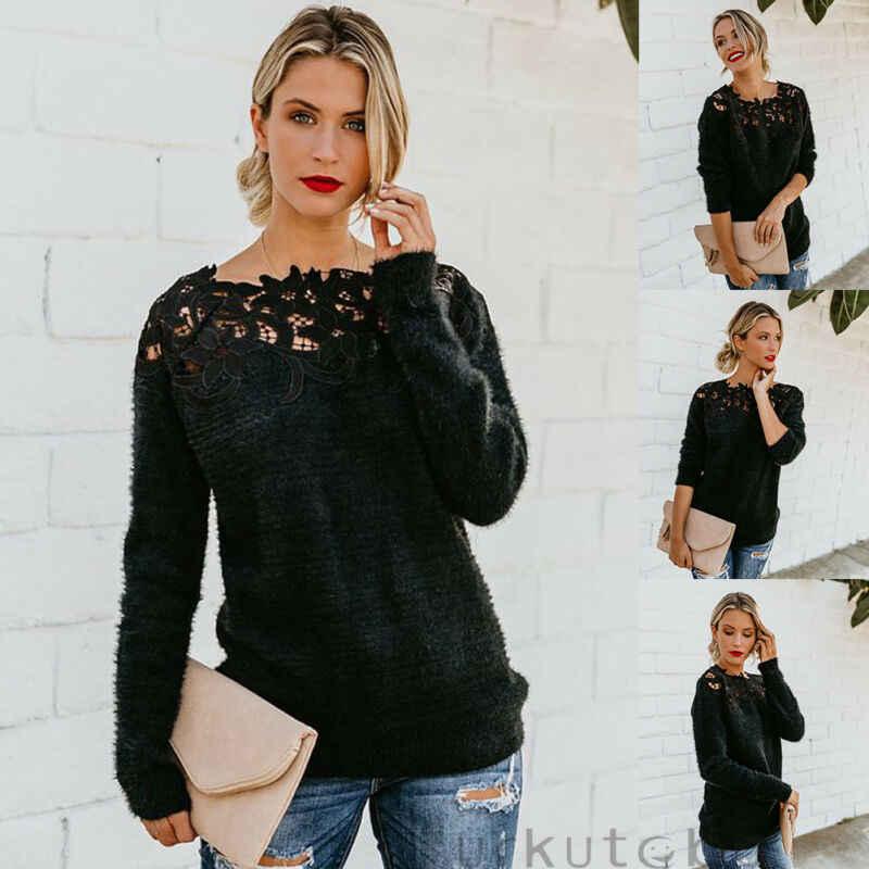 2020 Sexy o Neck Lace Hollow dzianinowy sweter sweter jesienno-zimowa z długim rękawem pulowerowe topy eleganckie kobiety biały sweter Femme