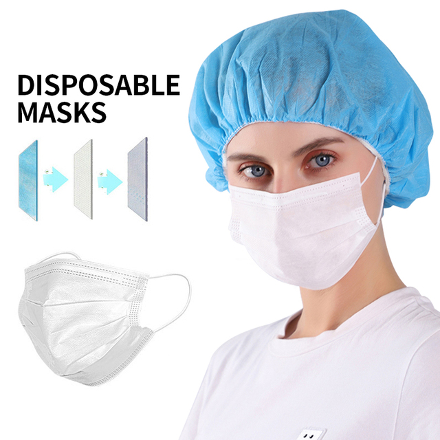 Face Mouth Protective Mask Disposable Protect 3 Layers Filter Dustproof Earloop Non Woven Mouth Masks 48 hours Shipping 4