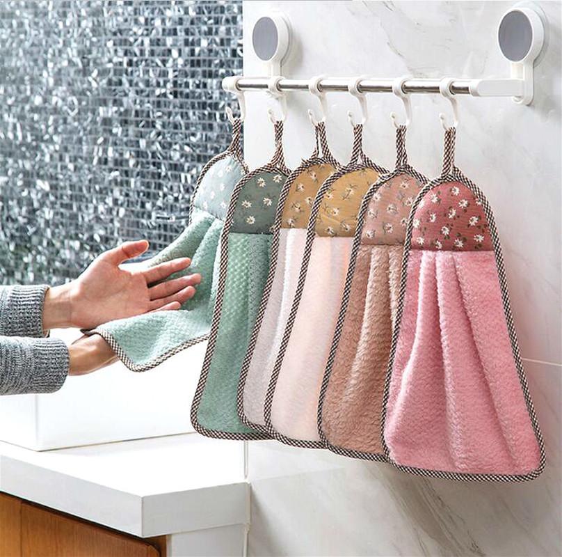 Kitchen Dish Washing Rag Hanging Erasable Towel Cute Absorbent Towel Household Bathroom Toilet  Handkerchief Cloth Lint