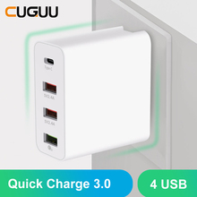 4 Poorten Usb Quick Opladers QC3.0 Type C Usb Oplader Voor Samsung Voor Iphone Huawei Snelle Opladers Wall Charger Us eu Uk Au Adapter