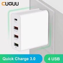 Cargador USB rápido de 4 puertos QC3.0 tipo C para Samsung, iPhone, Huawei, cargador de pared, adaptador para UE, Reino Unido y EE. UU.