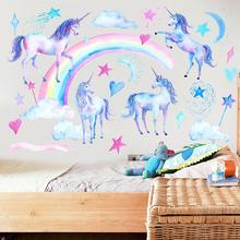 Cartoon Unicorn Star Wall Stickers for Kids Rooms Girls Bedroom Decor Animal  Art Party Room Decoration