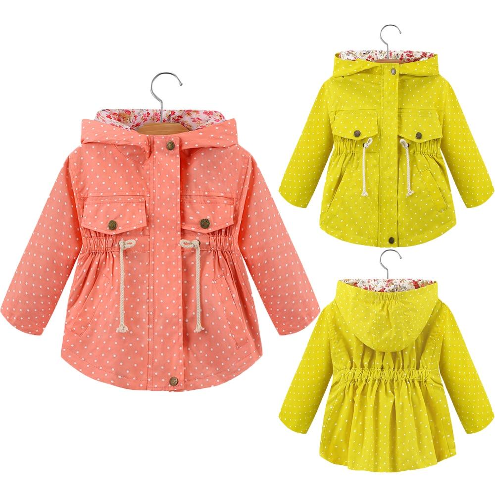Girls Hoodies Spring Dot Decoration Sweatshirt For Girl Full Sleeve Hooded Coat Toddler Children Outerwear  Kids Clothing