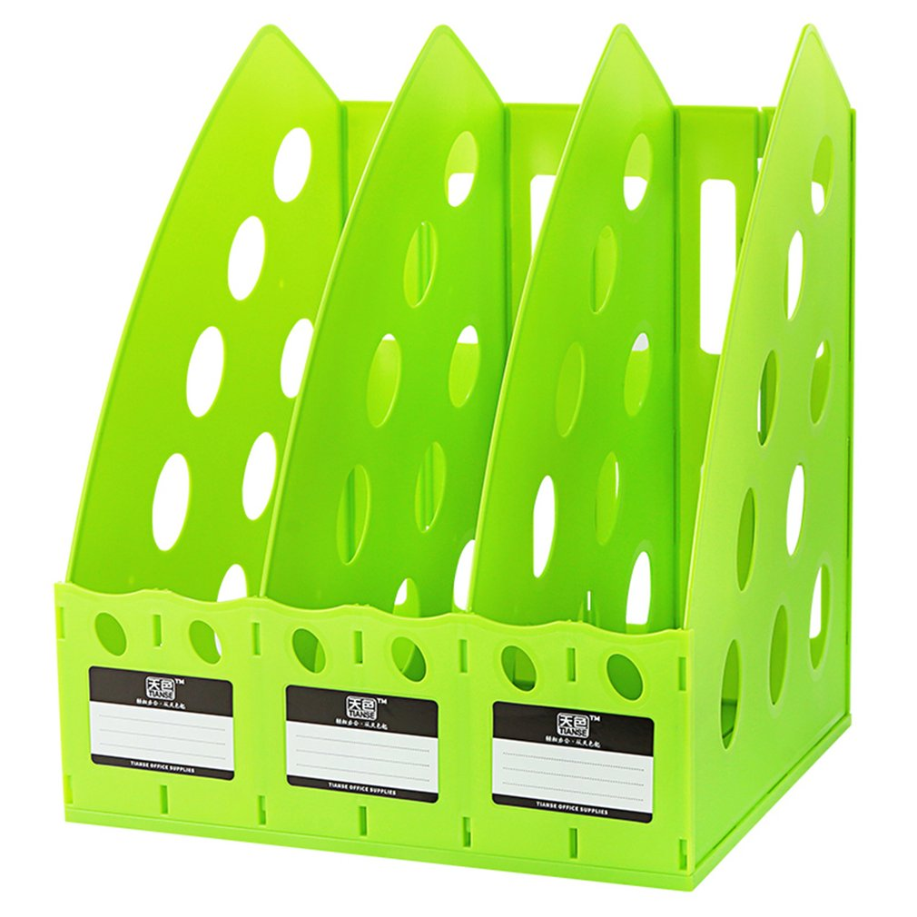 TIANSE Multifunctional Thick TS-1305 Plastic 3 Section Divider File Rack Home Office Desktop Storage Bookshelf