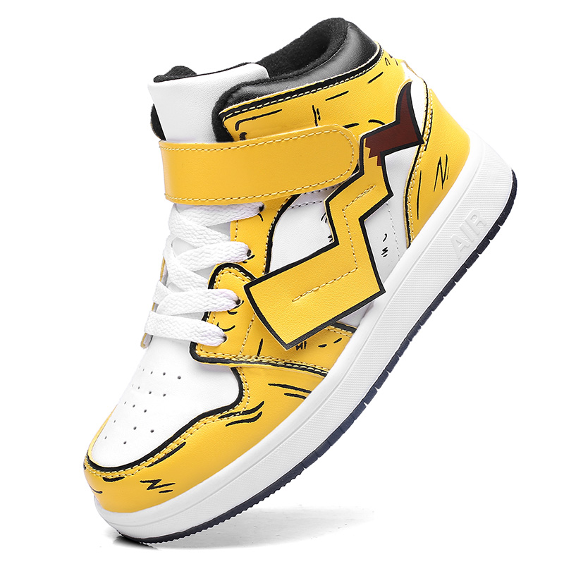 2020 New Pikachu Shoes Cosplay Dunk High Skateboard Student Fashion Hip Hop Shoes Plate Shoes Kids Sneakers Boys Sports Shoes