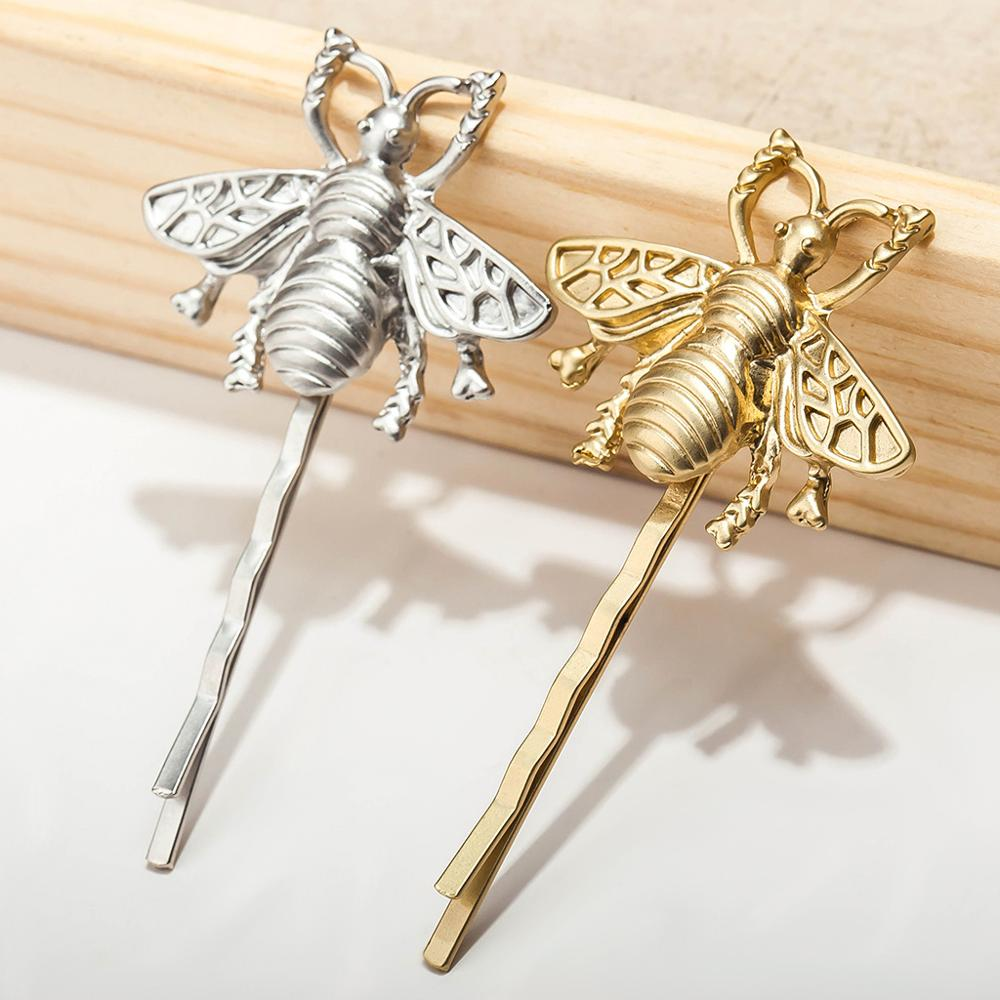 2Pcs/lot  Women's Fashion Style Girl Hair Clips Exquisite Silver Gold Bee Hairpin Side Clip Hair Accessories  Sweet Headwear