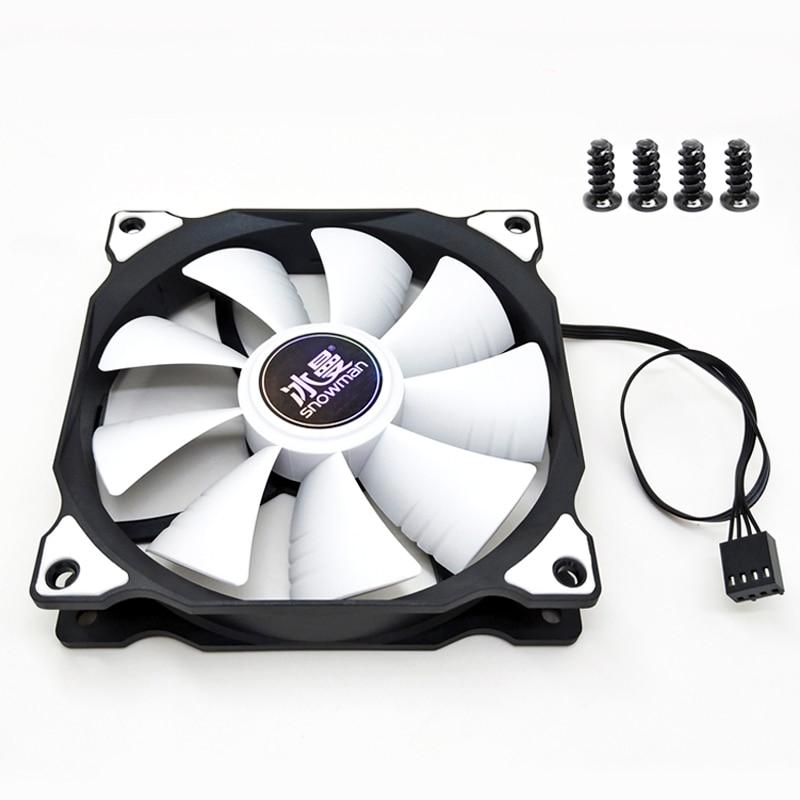 SNOWMAN PWM 4 Pin 120mm Computer Case Fan Silent 12CM Fan CPU Cooling RGB Quiet PC Cooler Fan Case Fans 12V DC Adjust Fan Speed 5