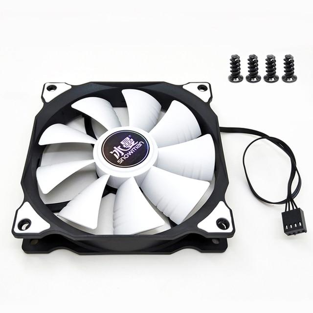 SNOWMAN PWM 4 Pin 120mm Computer Case Fan Silent 12CM Fan CPU Cooling RGB Quiet PC Cooler Fan Case Fans 12V DC Adjust Fan Speed 4