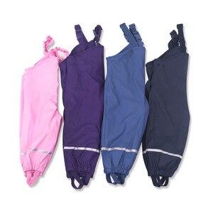 Image 2 - Marka su geçirmez Polar Polar yastıklı bebek kız erkek PU yağmur pantolon sıcak pantolon çocuk giyim çocuklar kıyafetler 85 130cm