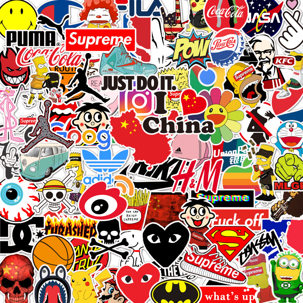 100Pcs 50Pcs Cutes Stickers Pack Motorcycle Stickers Space Astronaut Guitar Sticker Anime Stickers Cartoon Small Stickers TZ144G