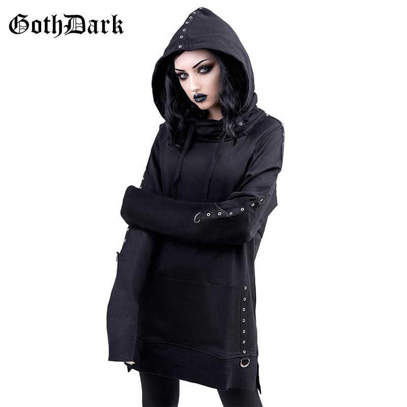 Goth foncé Vintage noir Grunge gothique sweat shirt femmes